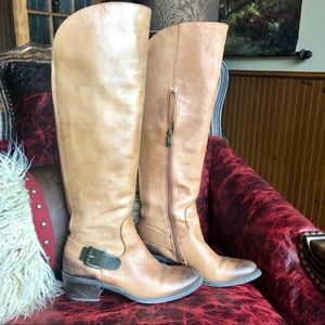 Vince Camuto brown leather boots buckle detail